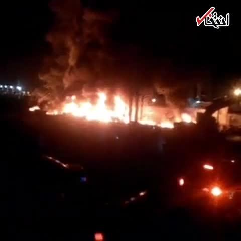 تصادف مرگبار تانکر حامل سوخت و اتوبوس در سنندج + فیلم