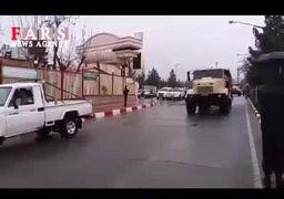 حضور نفربرهای ارتش در خیابانهای کرمانشاه+فیلم