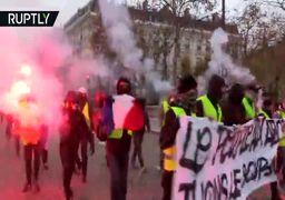 شانزِلیزه در دود و آتش؛ تظاهرات جلیقهزردها در پاریس ادامه دارد
