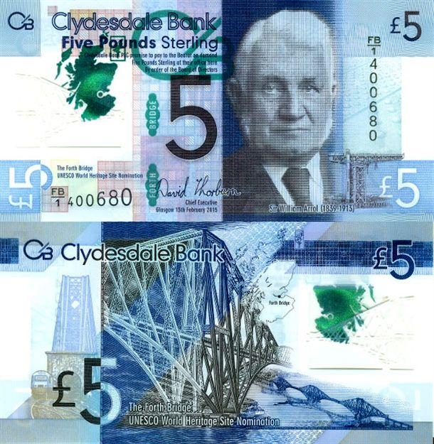 5 پوندی اسکاتلند با طرحی از سر ویلیام آرول، سیاستمدار و مهندس عمران اسکاتلندی