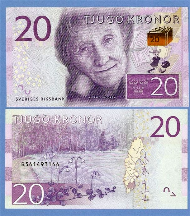 20 کرونی سوئد با طرحی از آسترید لیندگرن، نویسنده سوئدی