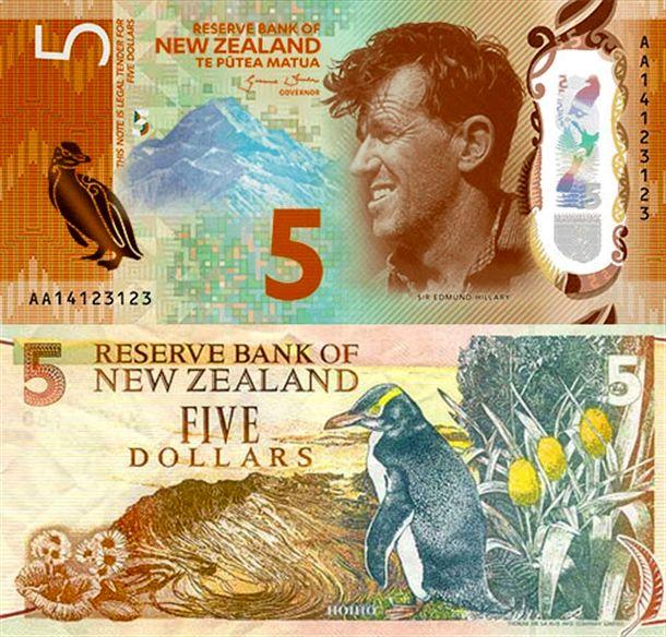 اسکناس 5 دلاری نیوزلند با طرحی از سر ادموند هیلاری، کاشف و کوهنورد نیوزلندی