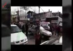 لحظات ابتدایی تعقیبوگریز پلیس و فرد مسلح در خیابان بیستون رشت